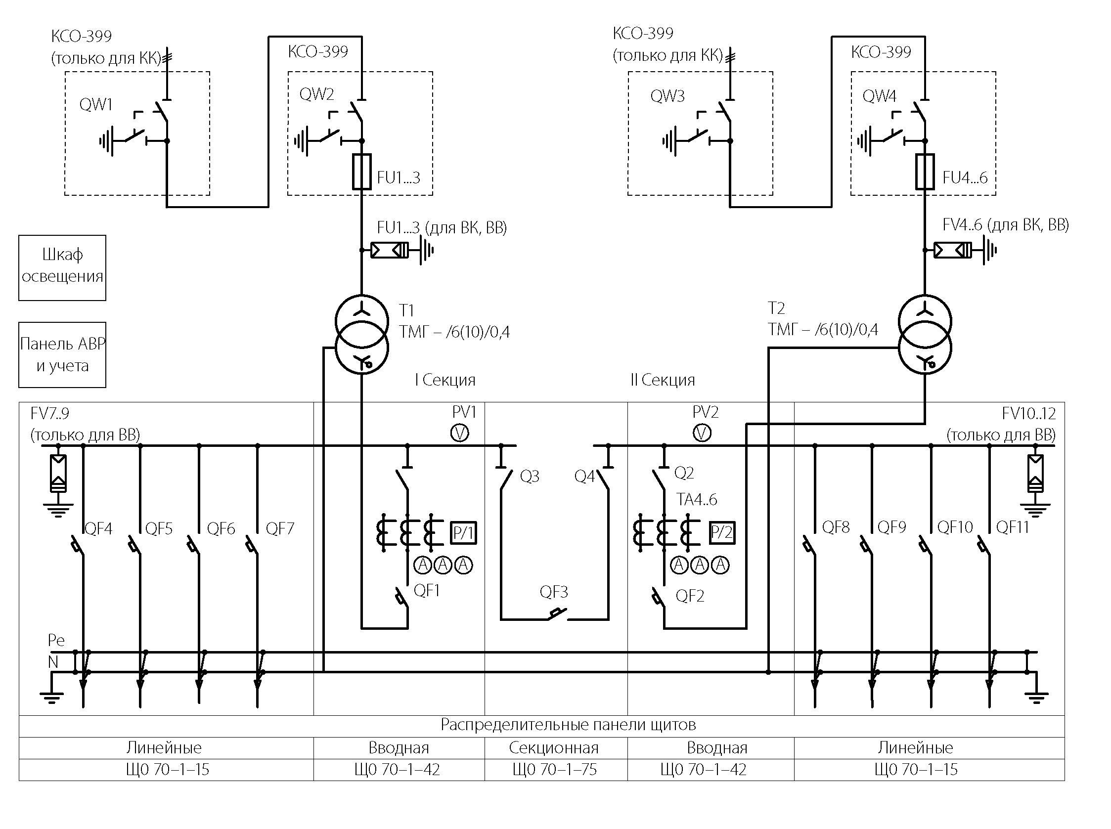 однолинейной опн схеме на обозначение