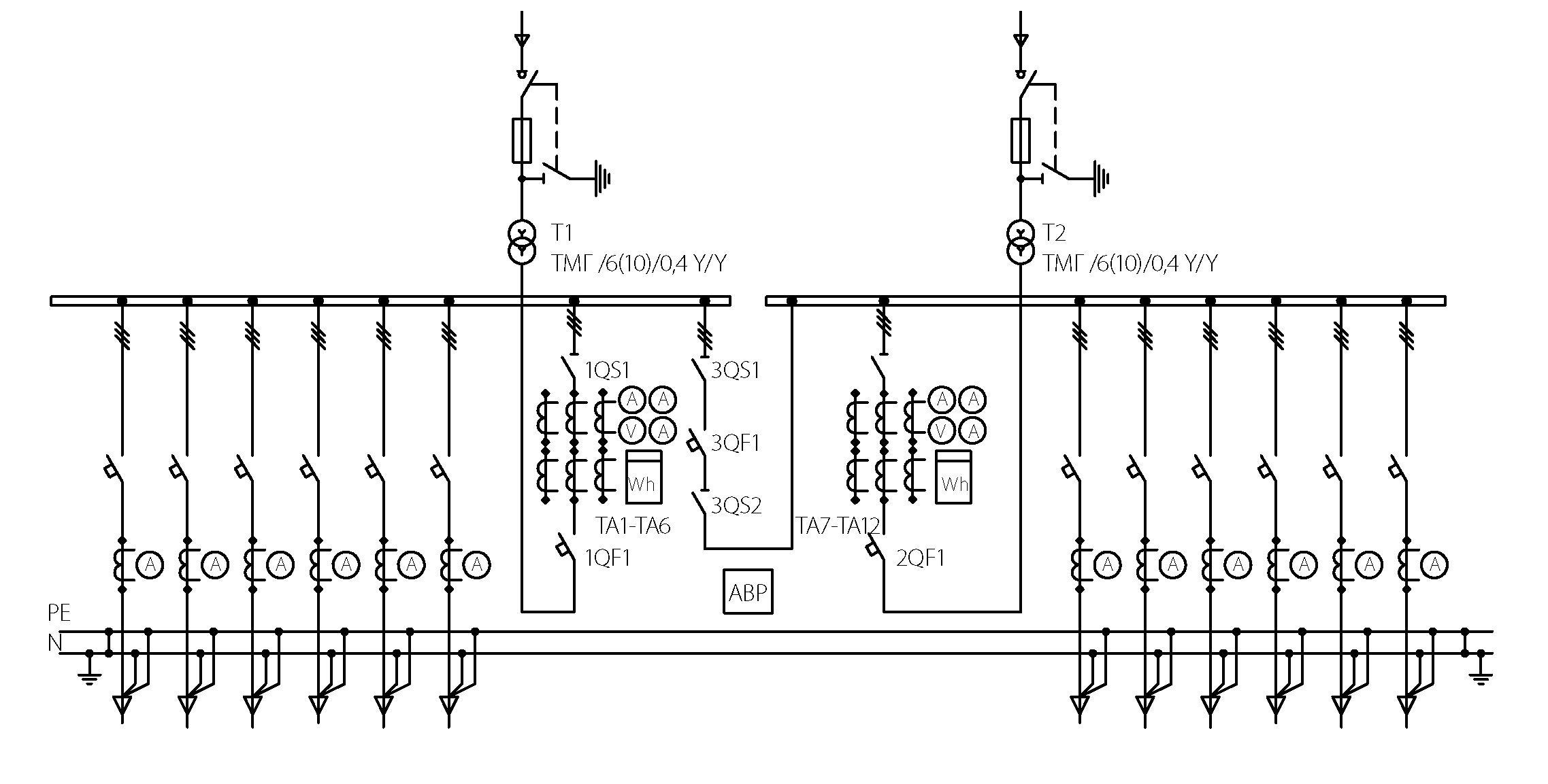 принципиальная электрическая линейная схема завода